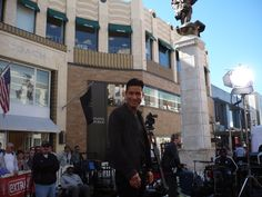Mario Lopez from the show Saved By The Bell filming Extra at the Grove.  I love Mario Lopez. He has great dimples.