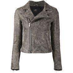 June cracked biker jacket (817 CAD) ❤ liked on Polyvore featuring outerwear, jackets, black, black biker jacket, real leather jacket, leather moto jacket, motorcycle jacket and long sleeve jacket