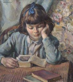 The Young Reader Miguel Mackinlay Leamington Spa Art Gallery & Museum. Portrait of the artist's daughter, aged nine. She is sitting at a table reading a book with two other books close at hand. Reading Art, Woman Reading, Children Reading, Children Books, Reading Books, Your Paintings, Beautiful Paintings, Illustrations, Illustration Art