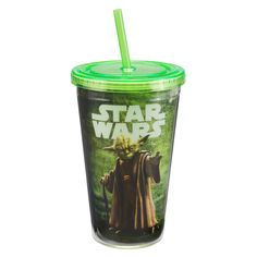 Star Wars Yoda Acrylic Travel Cup with Straw | Insulated Plastic Cups | | RetroPlanet.com
