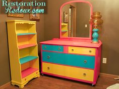 "Brighten up used furniture with chalk paint in ""kid colors."""