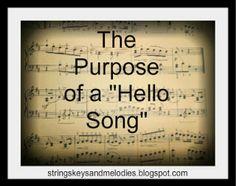 hello songs, greeting songs, preschool, names, strings keys and melodies, beginning music, movement activities