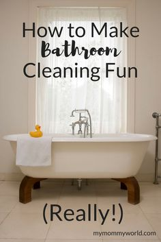 Bathroom cleaning isn't really the most fun thing to do, but you can make it into something fun with these bathroom cleaning tips. Making it a game, buying some great bathroom cleaning supplies and even listening to an audiobook can make an awful chore into a fun time. Learn how to clean the bathroom without dreading it! #cleaningtips #cleaninghacks