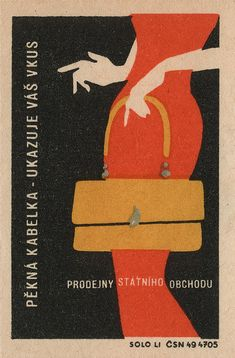 More lifestyle ad than matchbox illustration, this makes me think a little of the work of René Gruau especially in the woman's silhouette and in the redness of her dress. Vintage Labels, Vintage Ads, Vintage Posters, Vintage Ephemera, Retro Posters, Graphic Design Illustration, Graphic Art, Illustration Art, Matchbox Art