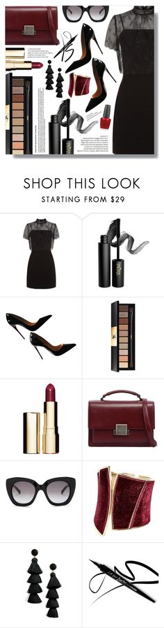"""""""NYFW After Party (4)"""" by goldenpixiedust ❤ liked on Polyvore featuring Sandro, INIKA, Christian Louboutin, Yves Saint Laurent, Clarins, Kate Spade, GUESS by Marciano, BaubleBar and OPI"""