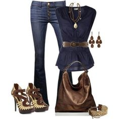 #invertedtriangle Hilighted waist, mid rise, bootcut jeans, and eye-catching shoes; all great picks for the inverted triangle.