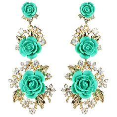 Amrita Singh Turquoise & Austrian Crystal Lyon Floral Drop Earrings ($13) ❤ liked on Polyvore featuring jewelry, earrings, turquoise drop earrings, glitter earrings, floral drop earrings, leaves earrings and turquoise jewelry