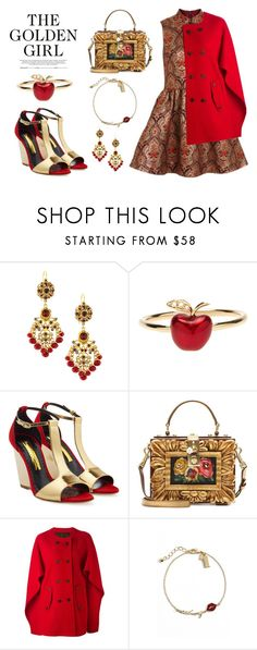 """The Golden Girl"" by junglover ❤ liked on Polyvore featuring Topshop, Jose & Maria Barrera, Alison Lou, Rupert Sanderson, Dolce&Gabbana, Neil Barrett and Kate Spade"