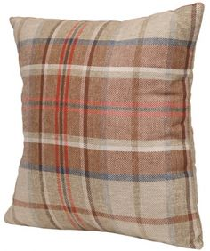 'Made in Clapton by Claire' Woven Tartan Cushion - Rokit - £26.00
