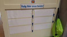 Schrijf je eigen twiet (groep 4) - Twitter.  De lln. met een twietie (vogeltje) op tafel mogen die dag een twiet schrijven. Wat vond je van de dag, wat heb je geleerd, etc.? Evaluatie.
