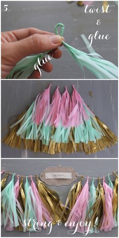 Using different textures materials for tassels - Linen, Lace, & Love: DIY: Confetti System Inspired Tissue Paper Tassel Garland Diy Tassel Garland, Garland Ideas, Backdrop Ideas, Paper Backdrop, Banner Ideas, Diy Party Tassels, Tassles Diy, Diy Party Banner, Party Garland