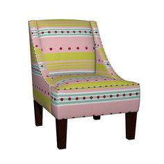 Venda Sloped Arm Chair featuring Comet -blue pink stripe by drapestudio   Roostery Home Decor
