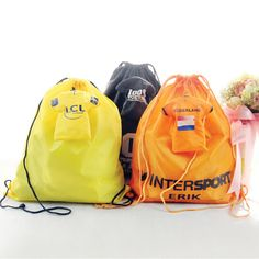 Drawstring foldable backpacks. Made from 190T polyester. Useful shopping bags / promotion bag. Different materials and sizes are available. Many colors available.