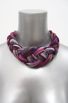 Collar Necklace Braided Tribal Knotted Choker Fabric Jewelry Braid Neckpiece Burgundy African Knot Spring Fashion Jewelry Autumn Fall