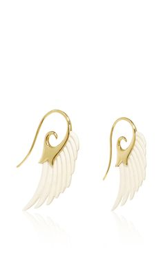 Wing Earrings in 18K Yellow Gold with Mammoth Ivory by Noor Fares for Preorder on Moda Operandi