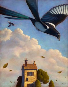 "*giggles* ""Magpies, now *there's* an honest bird..."" (from The Wheel on The School) Also from Paolo Domeniconi. ""Watching Magpies."""