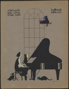 """Serenade aux cinq chats noirs"" by Hollande Robinson - sheet music, 1925. illustration by Mac H..."