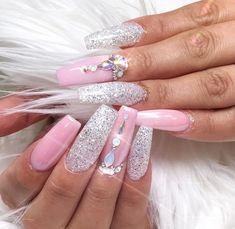 ❤ Really prettt pink and glitter nail art with rhinestones! #nailart #nailstagram #nailswag #unas