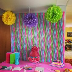 Troll backdrop---Photo Only 6th Birthday Parties, Third Birthday, Birthday Fun, Birthday Ideas, Diy Birthday Backdrop, Birthday Decorations, Trolls Birthday Party Ideas Cake, Trolls Party, Fete Emma