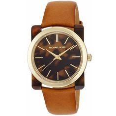 Tortoise casual watch -> NWT Michael Kors Women's Watch Brown Leather Gold Tortoise KEMPTON MK2484 $105.77 #MichaelKors #Casual