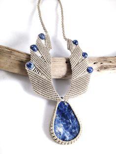 Sodalite Tribal Wing Macramé Necklace by knottyandnyce on Etsy, $75.00