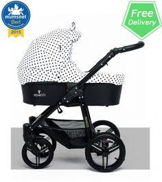 New Venicci Polka Dota. Mumsnet 2015 best award. Read more at http://www.kidsstore.co.uk/webshop/prams-buggies-car-seats/bebetto-venicci-prams/venicci-mini-polka-dots-baby-pram-car-seat-travel-system-black-frame/