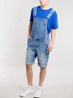 Mid Wash Dungaree Shorts