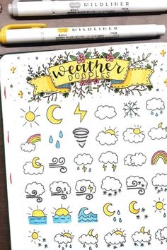 Check out these super fun bujo doodle ideas ⛈️ - Bullet Journal Doodle Inspiration For Bujo Addicts - Crazy Laura drawing journal Bullet Journal Headers, Bullet Journal Banner, Bullet Journal Writing, Bullet Journal Aesthetic, Bullet Journal Ideas Pages, Bullet Journal Layout, Bullet Journal Inspiration, Doodle Inspiration, Easy Doodle Art