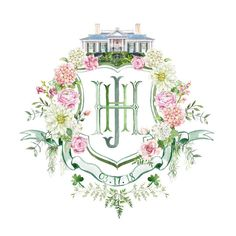 Would love to have a custom wedding crest in style and have Grace church, florals, maybe brick something greenville or Parisian to add touch of story from engagement. Wedding Logos, Monogram Wedding, Wedding Stationary, Floral Wedding, Wedding Flowers, Monogram Design, Monogram Fonts, Monogram Towels, Watercolor Wedding
