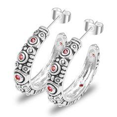 new 2017 brand wedding earings Silver Plated  fashion & vintage jewelery hoop red crystal stud earrings for women #Affiliate