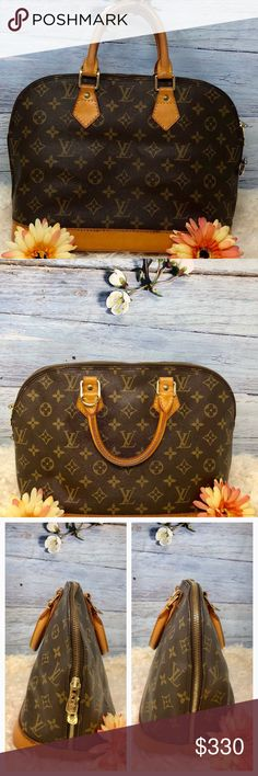 Authentic Louis Vuitton Monogram Alma Bag The outer canvas is good condition  The leather trims and handles showed wearing with scratches, stains, and darkened ( see picture) Rivet is replaced ( see picture 7th,  red circle) Inside showed signs of used with stains (see picture) Made in France with date code BA 1925 Dimension 13 x 9 x 6 Louis Vuitton Bags Satchels