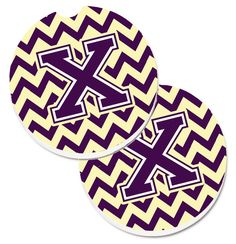 Letter X Chevron Purple and Gold Set of 2 Cup Holder Car Coasters CJ1058-XCARC