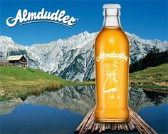 "Almdudler, ""carbonated Austrian soft drink made of 32 different alpine herbs"" - reminds me of skiing holidays"