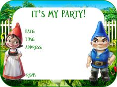 Awesome Gnomeo & Juliet Party Set for you to print at home! Birthday Party Invitations Free, Birthday Party Themes, Birthday Ideas, I Party, Party Ideas, 8th Birthday, Where The Heart Is, Fun Things, Birthdays