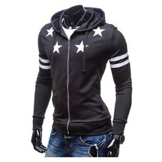Star Printed Long Sleeve Casual Fitted Zip Placket Hoodie ($29) ❤ liked on Polyvore featuring tops, hoodies, long sleeve hooded sweatshirt, hooded sweatshirt, zipper hoodie, hooded zip sweatshirt and zip hoodies