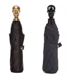 Alexander McQueen - Skull Handle Umbrella, in gold finish brass or onyx resin skull handle
