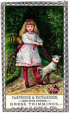 Vintage Clip Art – Girl with Lamb