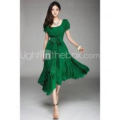 Women's Irregular Chiffon Midi Dress with Belt - USD $ 32.19