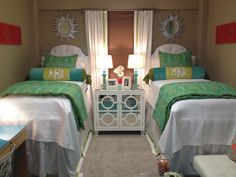 I love the matching beds with monograms! I'm in love with a plain bed with a cute bed scarf!