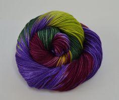 Hand Dyed Yarn, Hand dyed DK Yarn, Hand Dyed Luxury Yarn, Silk, Merino, Green, Purple, Red - Dragon's Keep on Enchantment