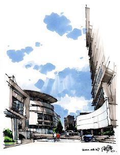 hand rendering color marker and felt tip pen sketch architecturelandscape