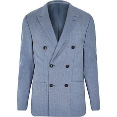 Blue premium double breasted slim blazer £110  RImenswear  Tailormade River  Island Suits 22be13b3011
