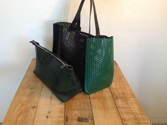 Perforated Upcycled Dot Leather & Layflat Handbag
