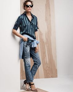 J.Crew women's Collection silk varsity stripe shirt, broken-in boyfriend jean, and Sophia Webster Pippa heels. To preorder call 800 261 7422 or email erica@jcrew.com.