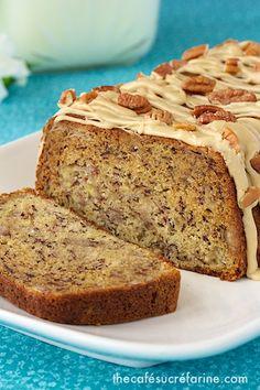 Banana Pecan Bread w/ Caramel Drizzle