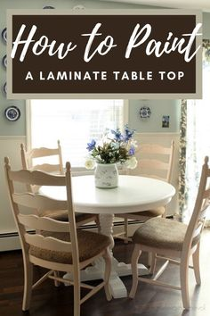 Do you have a laminate top dining table that you want to paint, but are not sure how to paint it so it will withstand the wear and abuse a table usually receives? I can help by showing you how I painted my table! Painting Laminate Table, Laminate Table Top, Kitchen Desks, Diy Kitchen, A Table, Dining Table, Home Projects, Diy Home Decor, Home Goods