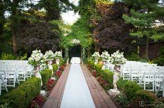 Outdoor wedding ceremony at Westbury Manor in Westbury, NY #weddingceremony