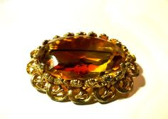 Vintage amber brooch Large gold tone by StrawberryfVintage on Etsy