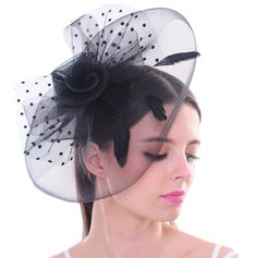 Top Hat Feather Fascinator Polka Dot Mesh Net Hair Clip Fascinator Hairstyles, Fascinator Hats, Hat Hairstyles, Headpiece, Hair Fascinators, Wedding Guest Fascinators, Wedding Hats, Victoria Costume, Black Hair Pieces