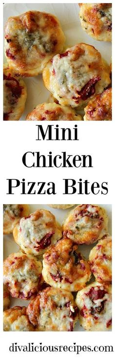low carb and gluten free mini chicken pizza bites.  So easy to make that the kids could whip up a batch! Recipe: http://divaliciousrecipes.com/2016/11/18/mini-chicken-pizza-bites/